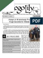 July-August2003 Sego Lily Newsletter, Utah Native Plant Society