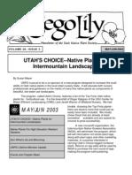 May-June 2003 Sego Lily Newsletter, Utah Native Plant Society