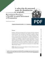 Hernández (2009) Prácticas de Selección de Personal, Un Instrumento de Dominación Socialmente Aceptado