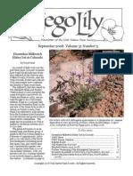 September-October 2008 Sego Lily Newsletter, Utah Native Plant Society