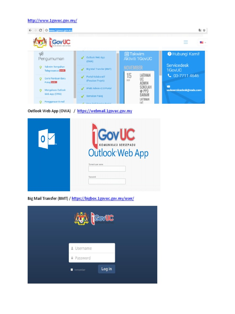 outlook web app 1govuc