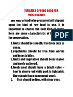 Characteristics of Food Good for Preservation