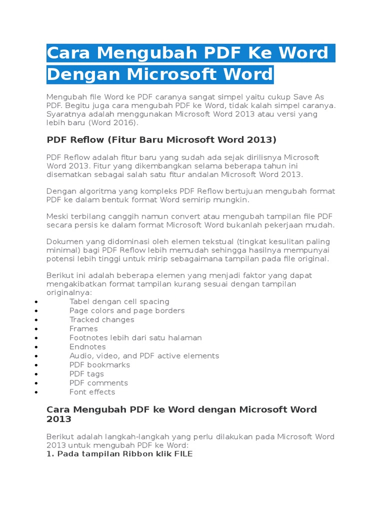Pdf Reflow Word 2013
