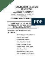 El Comercio Internacional y Su Relación Con La Inversión Extranjera Directa