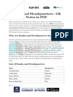 Banks and Headquarters GK Notes in PDF