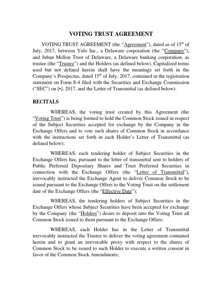Voting Trust Agreement Trust Law Trustee