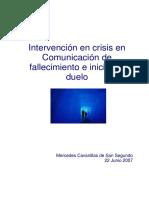 Intervencion en Crisis en Comunicacion de Fallecimiento e Inicio Del Duelo