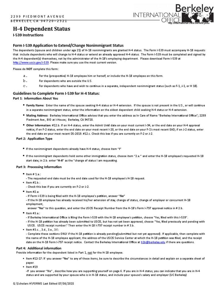 Guidelines For Completing Form I 539 07 06 2015 1 H 1 B Visa