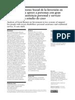 Análisis de Retorno Social de La Inversión en Dos Sistemas de Apoyo a Personas Con Gran Discapacidad. Asistencia Personal y Servicio Residencial. Un Estudio de Caso