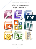 Introduction	to	Spreadsheets Key	Stage	2	/	Form	1