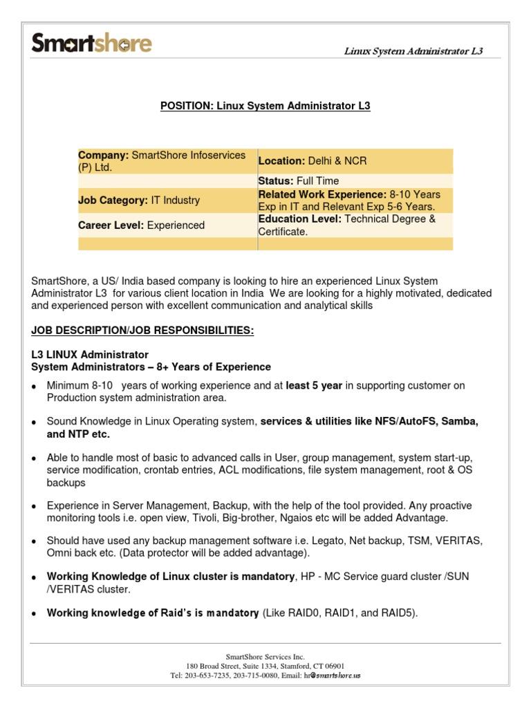 Systems Administrator Job Description   Linux Admin L3 Delhi Ncr System Administrator Linux