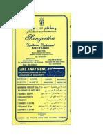 Sangeetha Restaurant Menu Card 3