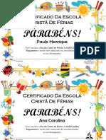 Certificado Da Escola Cristã de Férias