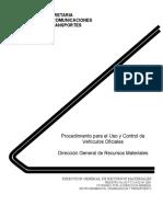 Procedimiento Para El Uso y Control de Vehiculos Oficiales 2001