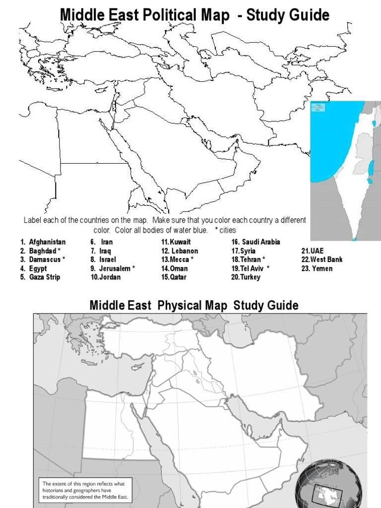 middle east map study guide 2017