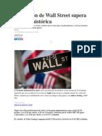 El Corazón de Wall Street Supera Barrera Histórica