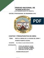 Informe de Visita a Obras Ing. Civil Lircay-costos y Presupuestos 2017