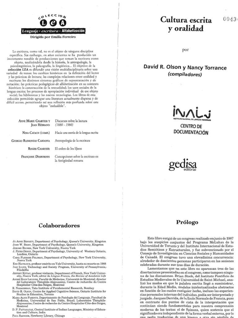 1. Cultura Escrita y Oralidad - David Olson.pdf