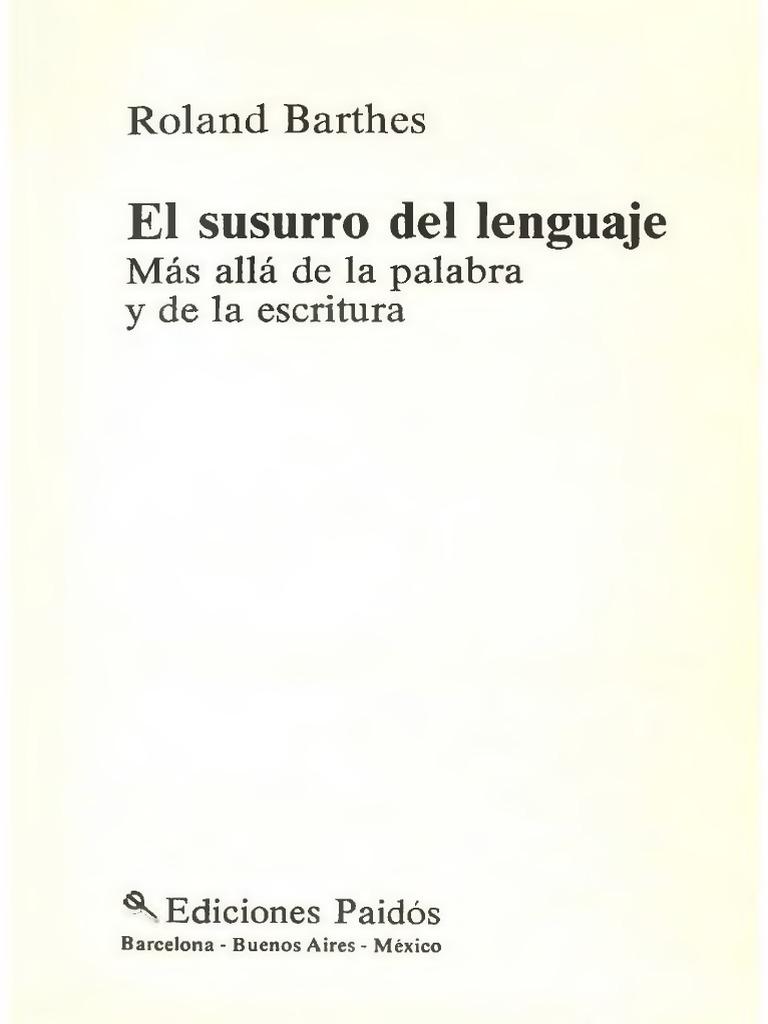 el susurro del lenguaje barthes pdf gratis