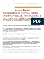 Law on Disconnection of Electrical Service - Jurisprudence