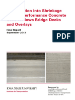 Iowa State University - Investigation Into Shrinkage of High-Performance Concrete Used for Iowa Bridge Decks