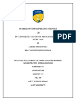 psychometric tests for recuitment and selection project