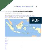 Daftar Kabupaten Dan Kota Di Indonesia