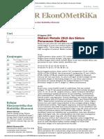 BELajaR EkonOMetRiKa_ Diskusi_ Metode 2SLS Dan Sistem Persamaan Simultan