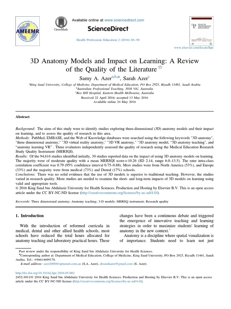 3d Anatomy Models And Impact On Learning A Review Of 2016 Health