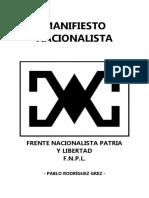 Manifiesto Nacionalista - Frente Nacionalista Patria Y Libertad