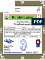 yogesh sharma best safety employee award certificate for month july 2017