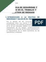 Politica de Seguridad y Salud en El Trabajo y Gestion de Riesgos