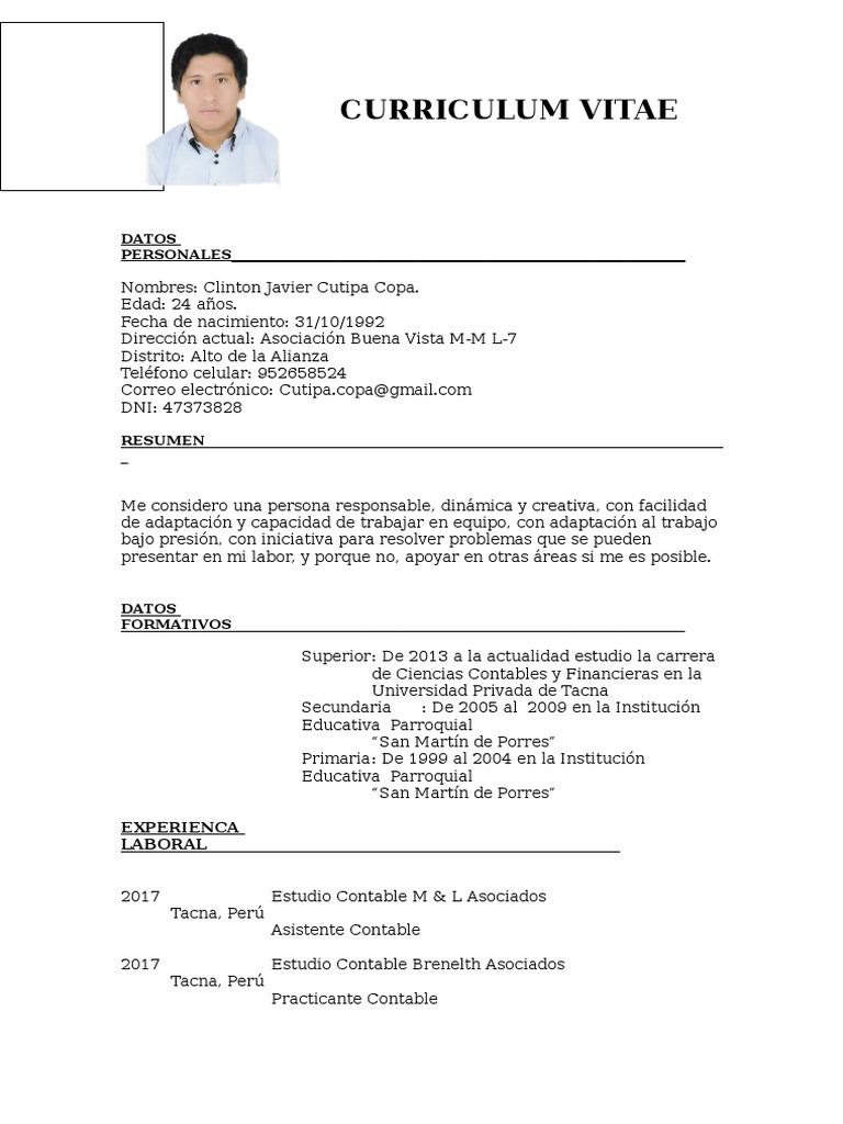 Excepcional Cv Contable Ejemplo Doc Colección de Imágenes - Ejemplo ...