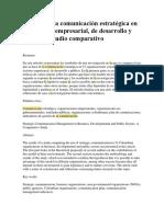 Gestión de La Comunicación Estratégica en Los Sectores Empresarial