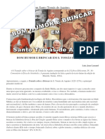 Bom Humor e Brincar -  Santo Tomás de Aquino