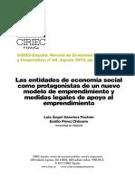 CIRIEC_8402_Pachon_Chinarro Las Entidades de Economía Social Como Protagonistas de Un Nuevo Modelo de Emprendimiento y Medidas