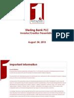 Sterling Bank Investor-Creditor Presentation - August 4, 2010