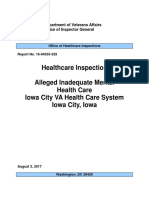 Report of alleged mental health care at the Iowa City VA hospital