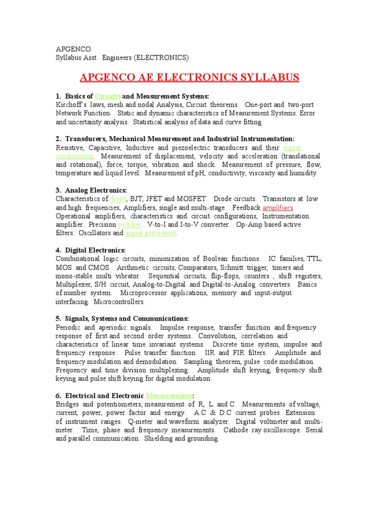 Apgenco Syllabus Ece Electronic Circuits Electrical Lab 4 Digital And Analogue Integrated Diode Circuit