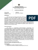 PHIN103 Philosophy of Religion Course Description