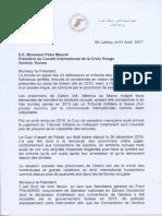 Presidente de la RASD envía carta al presidente del Comité Internacional de la Cruz Roja