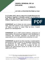 Cmdt Appel de Bruxelles Sur La Situation Politique Au Togo