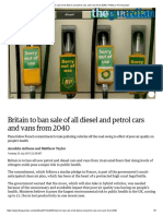 Britain to Ban Sale of All Diesel and Petrol Cars and Vans From 2040 _ Politics _ the Guardian
