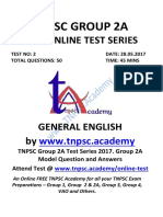 TNPSC Group 2A - Test 2 - GENERAL ENGLISH-Quenstion Only-www.tnpsc.academy