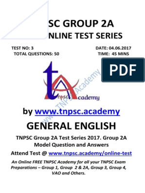 Group 2A Test Series - Test 03 - General English - Question