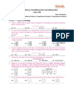 International Mathematics Olympiad 2011 Question Paper Class8