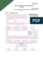 International Mathematics Olympiad 2012 Question Paper Class8