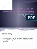 Hypoglycemic Effect of Oregano (Origanum Vulgare)
