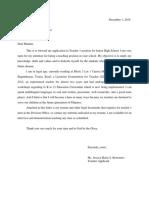 Letter of Application Tnhs