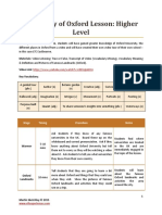 University of Oxford Lesson Plan and Material
